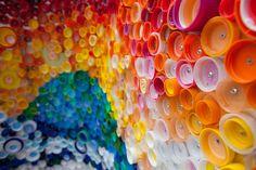 mosaico de tapas de bebidas