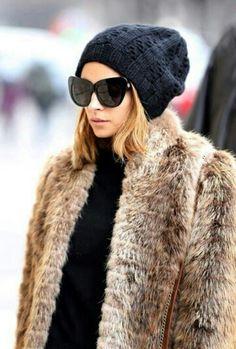 Nicole Richie, fur coat, cat eye sunglasses, hipster beanie