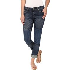 Blank NYC Denim Patchwork Slim Boyfriend in Blue Women's Jeans, Blue ($61) ❤ liked on Polyvore featuring jeans, blue, slouchy boyfriend jeans, blue skinny jeans, leather bib overalls, ripped jeans and destructed boyfriend jeans