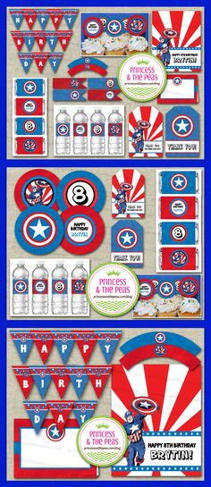 Captain America Party Printables | Captain America Party Ideas | Captain America Birthday | Captain America Cupcake Toppers    www.princessandthepeas.com/blog  #captainamericaparty #captainamericaprintables #captainamericapartyideas #captainamericabirthdayparty