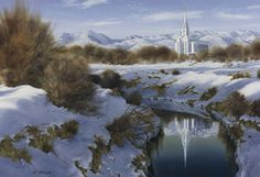 """Oquirrh Mountain Temple Winter"" Al was excited that at this location he could see this beautiful new Oquirrh Mountain temple reflected in the water of an original pioneer canal that still brings water to the farms on the West side of the valley."
