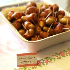 bacon-wrapped fingerling potatoes. Enjoying Everyday: Baby Shower Brunch