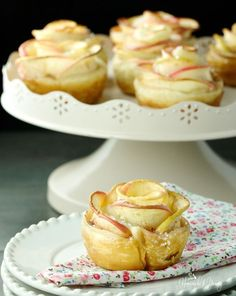 Apple Rose Puffs are such fun to make.  Puff pastry creates an easy and elegant dessert perfect for any occasion.  Impress your guests with these!!