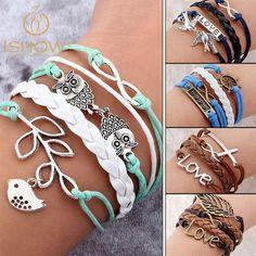 Cerkos.com: Fashion Vintage Bird Tree Owls Infinity Anchors Rudder Rope Bracelet Wrap Leather Bracelet Multilayer bracelets bangles
