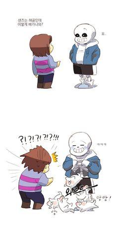 Frisk & Sans Frisk: Sans if your a Skelton, why do you have a tummy? Sans: (laughing)