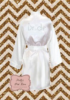 fe27434f4ff Items similar to Back Only White Bridal Rhinestone Kimono Short Robe Bridal  Party Pool Party Slumber Party Gifts Satin Robe Bridal Robe Bridesmaid Robe  on ...