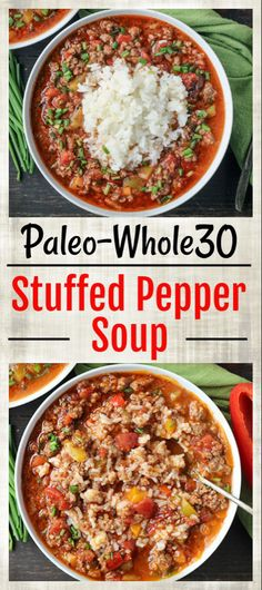 whole 30 recipes This Paleo Stuffed Pepper Soup is easy to make and so hearty. All the flavors of a stuffed pepper in soup form. Gluten free, dairy free, and low FODMAP. Made in the Instant Pot or on the stove top. Whole Foods, Whole 30 Diet, Paleo Whole 30, Whole 30 Soup, Whole 30 Meals, Whole Food Diet, Paleo Soup, Healthy Taco Soup, Dinner Ideas