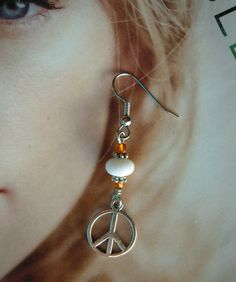 Charming Peace Earrings Handcrafted Dangly Silver Tone Charms Orange White Beads #MDHcrafts #Dangle