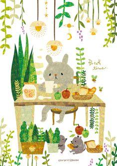 """semidarksorahana: """" Break time. by Megumi Inoue. http://sorahana.ciao.jp/ """""""