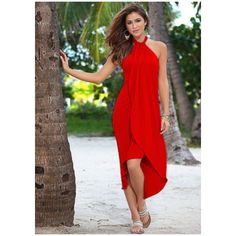 Women's Calli Summer Maxi Dress Evening Cocktail Party ($18) ❤ liked on Polyvore featuring dresses, red, red party dresses, evening dresses, cocktail maxi dresses, red summer dress and maxi dress
