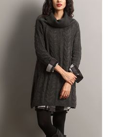 Another great find on #zulily! Charcoal Cable-Knit Convertible Sweater Dress #zulilyfinds