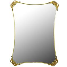 Brass Regency Mirror with Foliate Corner Brackets | See more antique and modern Wall Mirrors at https://www.1stdibs.com/furniture/mirrors/wall-mirrors