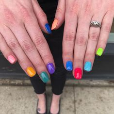 Spring Nail Trend: Multicolored Nails #springtrends #nailsofinstagram #nailart #thewnailbar Spring Nail Trends, Spring Nails, Multicolored Nails, Nail Bar, Nail Inspo, Hair And Nails, Make Up, Instagram, Fashion