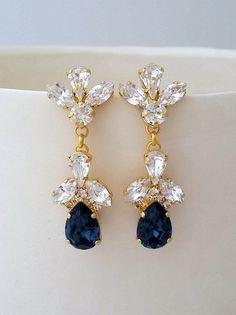 Navy blue Bridal earrings,Navy blue chandelier earrings,Wedding earrings,Bridal earrings,Vintage earrings,Swarovski earrings,Bridal jewelry by EldorTinaJewelry | http://etsy.me/2dDSQis