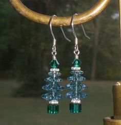 Christmas Crystal Tree Erinite Green Earrings Made With Swarovski Elements