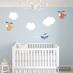 stencils for nursery. See more nursery wall stencils at The Stencil Studio Nursery Decor Boy, Boys Room Decor, Playroom Decor, Nursery Themes, Nursery Room, Kids Bedroom, Baby Room Art, Baby Boy Rooms, Baby Boy Nurseries