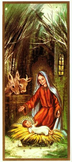 Vintage Christmas Card Mary Baby Jesus Nativity by PaperPrizes