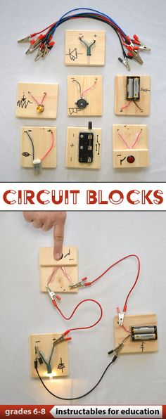 Circuit Blocks in the Classroom Circuit Blocks in the Classroom,Technik This activity involves the use of a modular set of electronic components that are easy to hook up to each other. Science Projects For Kids, Stem Projects, Science Fair, Science For Kids, Diy Craft Projects, School Projects, Crafts For Kids, Electricity Projects For Kids, Engineering Projects