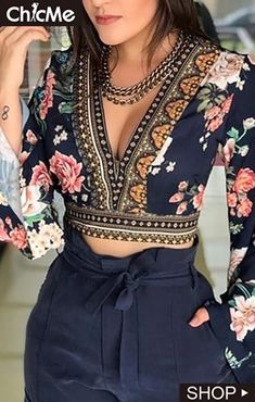 Sexy V-Neck Open Back Bell Sleeve Floral Printed Casual Blouse Women Long Sleeve Short Blouse Tops Streetwear Look Fashion, Indian Fashion, Fashion Outfits, Fashion Women, Women's Fashion, Winter Fashion, Fashion Trends, Fashion Clothes, Street Fashion
