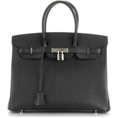 HERMES Epsom Birkin 35 Noir Black ❤ liked on Polyvore featuring bags, handbags, handbags totes, roll up bag, tote bag purse, tote bag and hermès