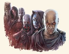 Six famous Sith Lords bearing the Darth title, from left to right: Darth Andeddu, Darth Revan, Darth Malak, Darth Malgus, Darth Ruin, Darth Bane