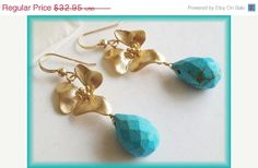 Black Friday Sale Turquoise earrings Flower Earrings by AnnTig, $29.66
