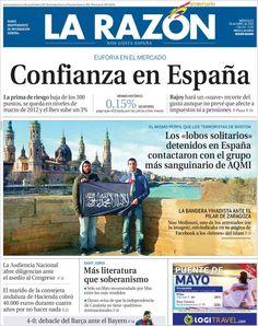 Los Titulares y Portadas de Noticias Destacadas Españolas del 24 de Abril de 2013 del Diario La Razón ¿Que le parecio esta Portada de este Diario Español?
