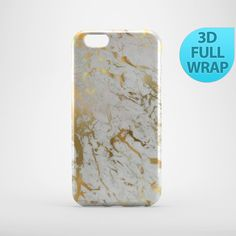 White and Gold Marble Effect Case for iPhone 4 4s 5 5s by GiftsMK