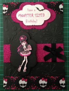 Girls monster high birthday card