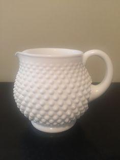 Vintage Fenton Hobnail white Milk Glass Jug/Squat pitcher/Hobnail…