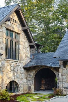 Whimsical lakeside cottage retreat with cozy interiors on Lake Keowee Stone Cottages, Stone Houses, Stone House Exteriors, Stone House Plans, Stone Exterior Houses, Cottage House Plans, Cottage Homes, Cottage Design, House Design