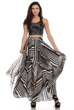 This look is amazing Black And White Skirt, Black White, Striped Maxi Skirts, Black Strappy Heels, Black Espadrilles, Polyester Satin, Skirts With Pockets, Sweater Shirt, Diy Fashion