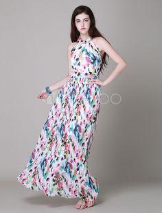 Heißer Verkauf Maxi-Kleid mit Floral Print rückenfreie langen Strand Kleider für Frauen - Milanoo.com