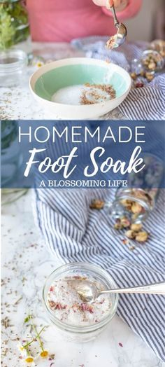 Easy homemade foot soak made with a few simple ingredients to help relax and soften feet. Epsom salts baking soda and herbs are combined to make this soothing recipe. Homemade Foot Soaks, Diy Foot Soak, Kitchen Recipes, Cooking Recipes, Soften Feet, Natural Add Remedies, Essential Oils For Skin, Baking Soda, Whole Food Recipes