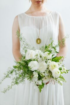 White and green botantical wedding bouquet from Munster Rose