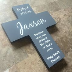 Godson / Goddaughter Handmade Personalized Cross by Frameyourstory