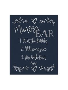 Our foil printed Mimosa Bar sign is perfect to place at a mimosa bar you are having for a wedding, party, or bridal shower. It's printed with gold, rose gold or silver foil on your choice of premium t