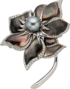 Chaumet South Sea Cultured Pearl, Shell, Diamond, Gold Brooch