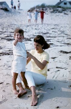 Jackie Kennedy and little JFK, Jr.