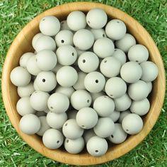Round 15mm Silicone Bead 10pk - Cool Grey - Silicone Beads Australia™