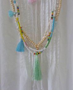 beachcomber hippie bead tassel necklace - beach boho necklace or wrap bracelet