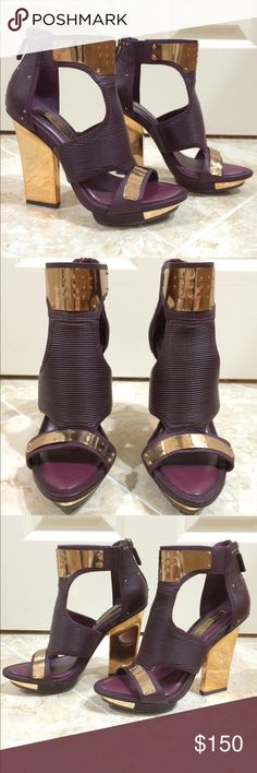 """BCBGMAXAZRIA Gladiator cut out sandal NEVER WORN gladiator cut out sandal with gold metal detail. Ribbed front. Thin gold heel. Approximately 3"""" heel. Maroon color. BCBGMaxAzria Shoes Heels"""