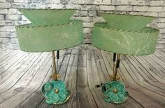 Pair of Mid Century Modern Turquoise/Gold Ceramic Flower Lamps Fiberglass Shades