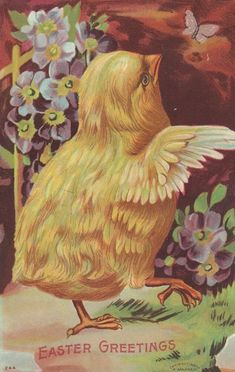 ~Cute Yellow Chick~ with Flowers~Antique Embossed~ Easter Vintage Easter, Vintage Holiday, Vintage Cards, Vintage Postcards, Vintage Images, Easter Art, Easter Ideas, Old Cards, Easter Parade