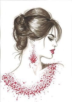 Print from Original Watercolor Fashion Illustration Modern Art Painting titled Red Wine on Etsy, $22.00