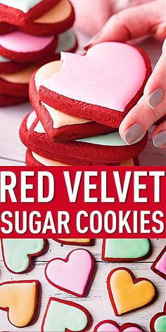 Red Velvet Sugar Cookies: Soft & tender with a little cocoa and cream cheese flavor. Perfect for Valentine's Day, Christmas, or the Fourth of July. Red Velvet Sugar Cookies: Soft & tender with a little cocoa and cream chee Valentine Desserts, Valentines Baking, Valentines Day Cookies, Christmas Sugar Cookies, Valentine Cookie Recipes, Valentine Food Ideas, Christmas Party Desserts, Valentines Treats Easy, Christmas Biscuits