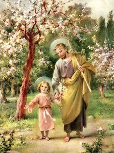 Saint Joseph and child Jesus Religious Pictures, Jesus Pictures, Religious Icons, Religious Art, Catholic Art, Catholic Saints, Roman Catholic, Memorare Prayer, Image Jesus