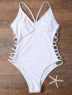 $17.49 Cutout High Cut One-Piece Swimwear WHITE: One-Pieces   ZAFUL