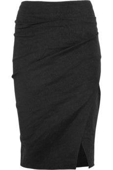 Chiseled Scissor stretch linen-blend skirt