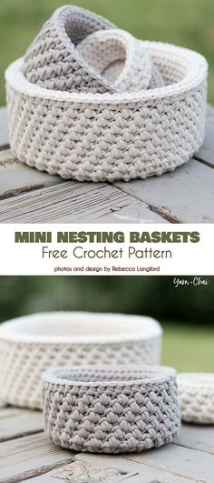 Crochet Baskets Ideas and Patterns Mini Nesting Baskets Free Crochet Pattern Related posts:Naptime Bear Free Crochet PatternsTeardrop Basket Plant Hanger Crochet PatternWho doesn't love an easy, stylish modern crochet storage basket to fancy up. Crochet Diy, Crochet Storage, Crochet Amigurumi, Crochet Home Decor, Crochet Ideas, Simple Crochet Patterns, Diy Crochet Projects, Free Crochet Bag, Chunky Crochet